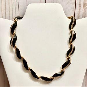 Vintage Black Enamel and Gold Tone Necklace